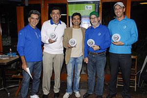 Fernando Vieira e os campeões Antonio Padula, Vilson de Oliveira, Fantin e Paulo Ruba Foto: Zeca Resendes